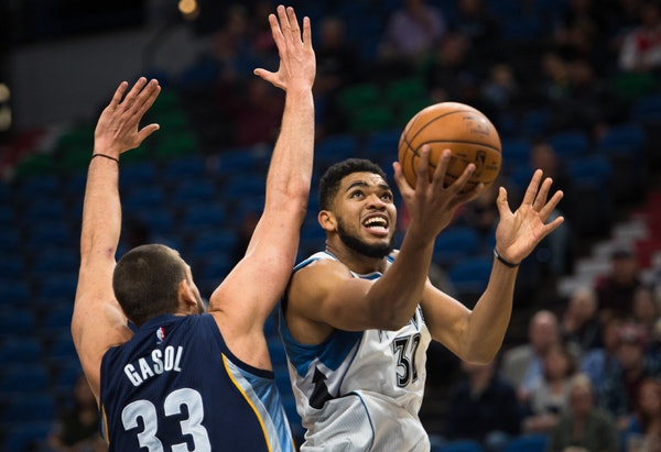 Timberwolves forward Karl-Anthony Towns (32) scored a layup under the defense of Memphis Grizzlies center Marc Gasol