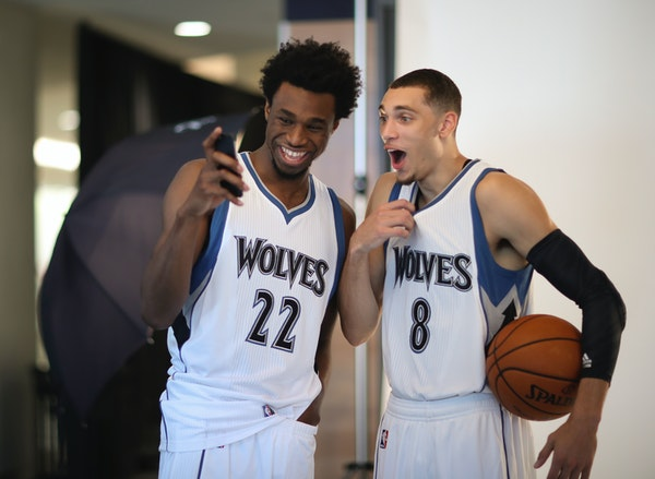 Timberwolves forward Andrew Wiggins, left, with guard Zach LaVine before a portrait session at Media Day.
