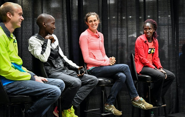From left at the Twin Cities Marathon news conference Friday, Josh Dedering, Sam Chelanga, Gwen Jorgensen and Aliphine Tuliamuk are some of the favori