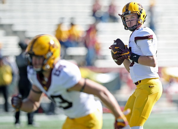 Minnesota quarterback Conor Rhoda warmed up on the field before Minnesota took on Maryland last week. The backup is expected to start again this week,