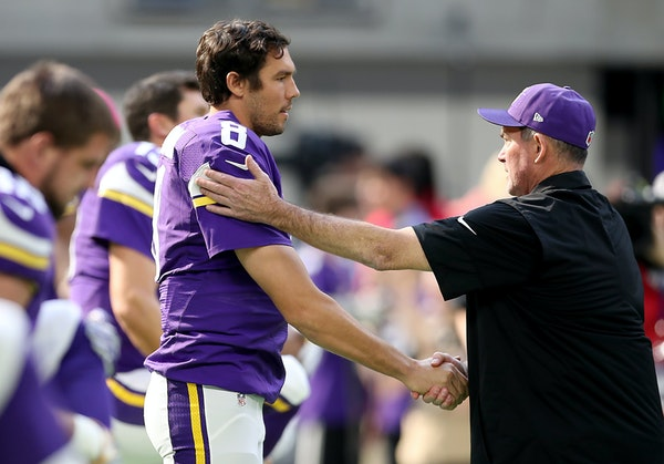 Vikings quarterback Sam Bradford was greeted by coach Mike Zimmer during warmups before facing the Houston Texans on Sunday at U.S. Bank Stadium.
