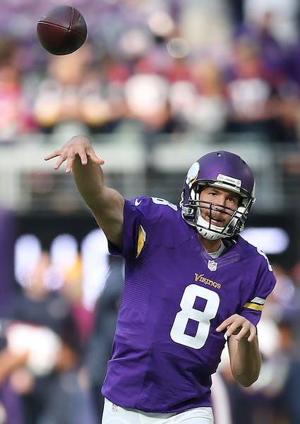 Minnesota Vikings quarterback Sam Bradford warms up before facing the Houston Texans on Sunday, Oct. 9, 2016 at U.S. Bank Stadium in Minneapolis, Minn