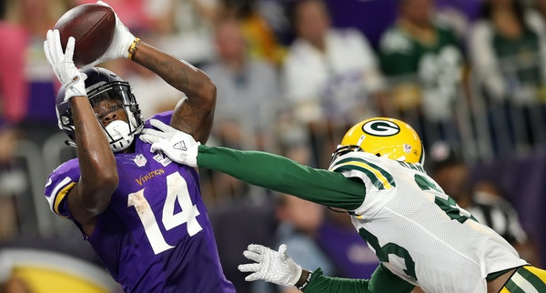 Stefon Diggs' touchdown catch vs. Green Bay highlighted a 182-yard night Sunday that made him the NFL's leading receiver.