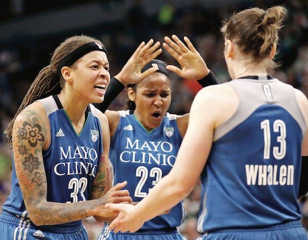 Lynx starters, from left, Seimone Augustus, Maya Moore and Lindsay Whalen had plenty of chances to celebrate this season. Minnesota had the WNBA's b