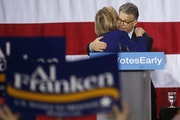 Hillary Clinton with Sen. Al Franken in Minesota in 2014 as she stumped for Democratic candidates in the state.