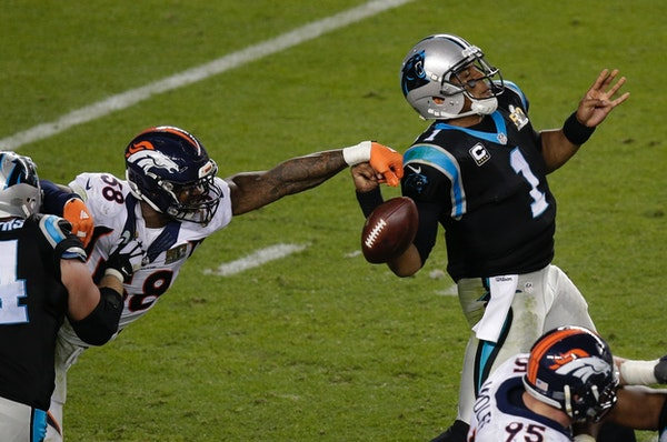 Denver's Von Miller stripped the ball from Carolina quarterback Cam Newton at Super Bowl 50 in February, and Newton's struggles in that game have spil