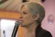 Green party presidential candidate Jill Stein delivers a stump speech to her supporters during a campaign stop at Humanist Hall in Oakland, Calif. on
