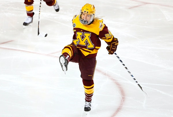 Sophomore forward Sarah Potomak (shown in a March 2016 game vs. Boston College) had a hat trick as the No. 2 Gophers edged Ohio State 3-2 on Friday ni
