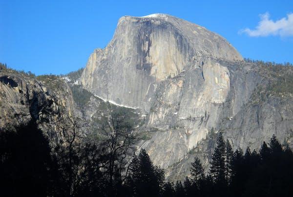 Half Dome, the iconic granite peak in Yosemite National Park in California.