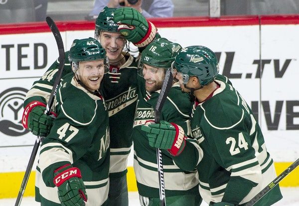 Wild center Tyler Graovac, second from left, has been assigned to AHL Iowa, but not before scoring his first NHL goal Saturday night and making a posi