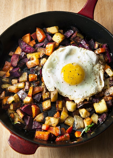 Roasted vegetables with an egg.
