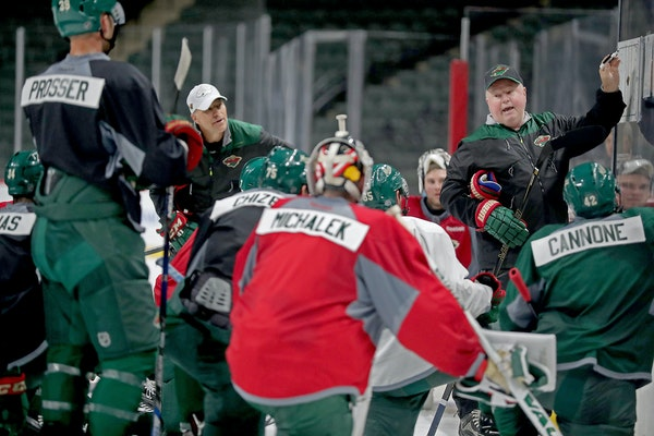 Minnesota Wild head coach Bruce Boudreau during practice earlier in training camp.