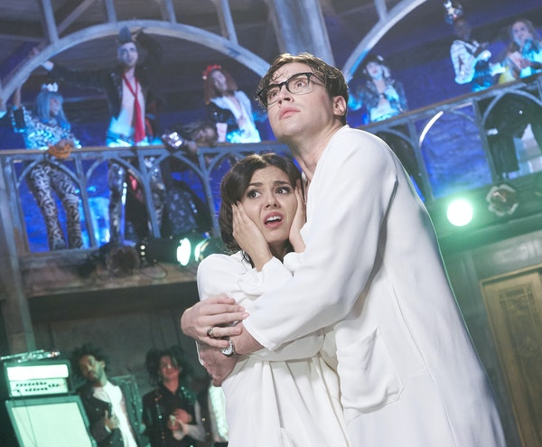 """Ryan McCartan as Brad with co-star Victoria Justice in """"The Rocky Horror Picture Show: Let's Do the Time Warp Again."""""""