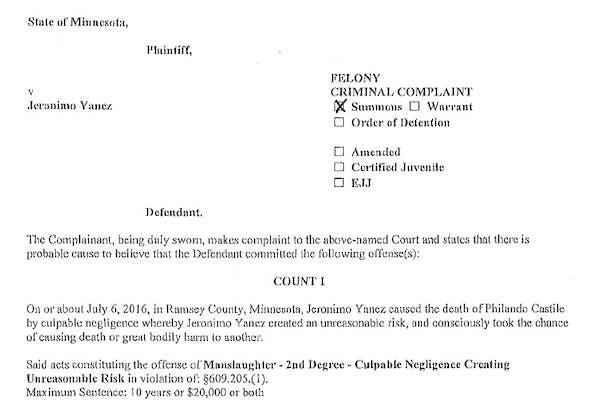 Read the criminal complaint against Officer Jeronimo Yanez