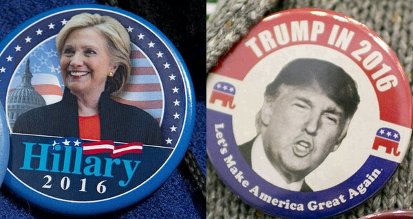 Hillary Clinton and Donald Trump buttons proclim the loyalty of their wearers. Only one of the cadidates will have reason to smile on Wednesday..
