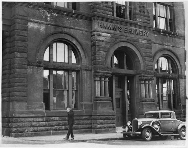 Facade of the Hamm's brewhouse, with its elaborate stonework, 1935