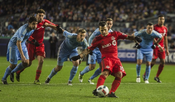 Toronto FC's Sebastian Giovinco put up a hat trick against NYC in the Eastern Conference semifinals.