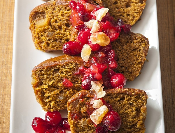 Double Ginger Mini-Loaves, and Very Fresh Cranberry Relish, and Cranberry Ginger Sauce