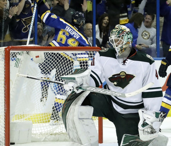 St. Louis Blues's Nail Yakupov (64), of Russia, celebrates after scoring past Minnesota Wild goalie Devan Dubnyk during the second period of an NHL