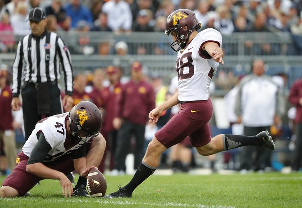 Minnesota's place kicker Emmit Carpenter kicked a field goal in the second quarter as Minnesota took on Penn State at Beaver Stadium, Saturday, Octobe