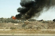 The burn pit at the air base in Balad, Iraq, burned 24 hours a day, seven days a week and included materials such as Styrofoam, metals, plastics, and