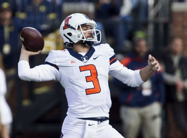 FILE - In this Saturday, Oct. 22, 2016, file photo, Illinois quarterback Jeff George Jr. (3) throws a pass in the first quarter of an NCAA college foo