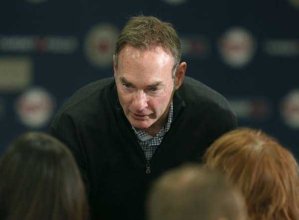 Twins manager Paul Molitor greeted the families of Derek Falvey and Thad Levine before a news conference at Target Field on Monday.