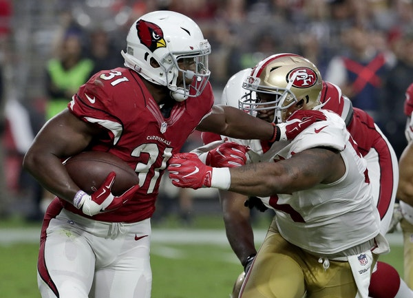 """Arizona running back David Johnson had 101 yards from scrimmage with TDs receiving and rushing in last week's victory over the 49ers. """"He's a co"""