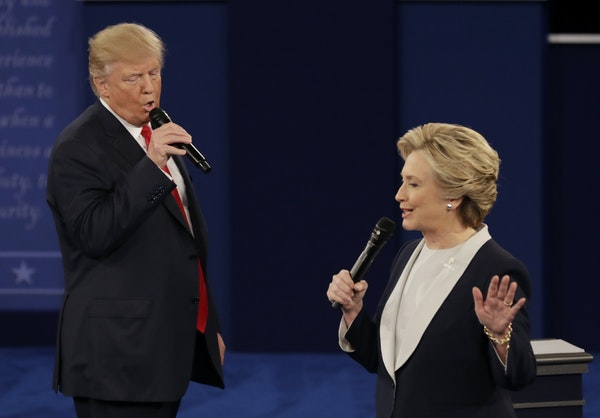 Donald Trump and Hillary Clinton during the second presidential debate at Washington University in St. Louis on Oct. 9.
