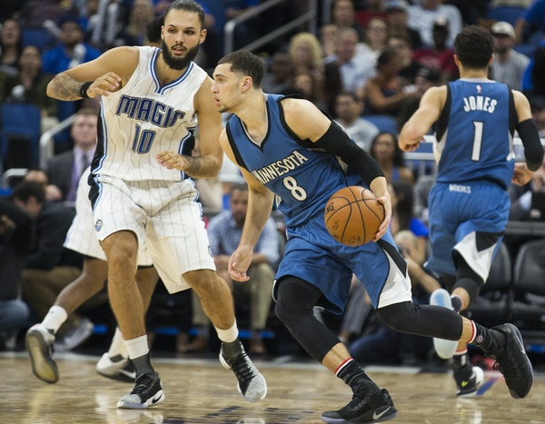 Zach LaVine drove left on Magic guard Evan Fournier during Wednesday's 123-107 Timberwolves victory.
