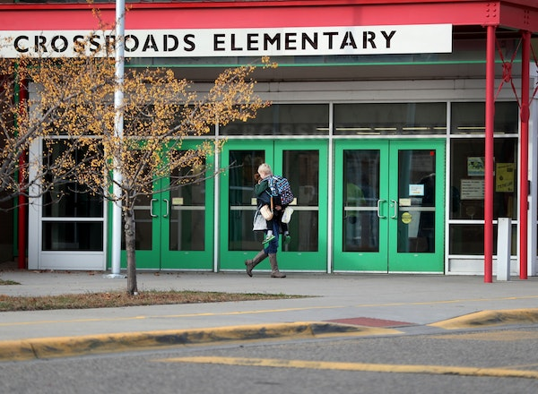 A loaded handgun brought to Crossroads Elementary School by a 7-year-old first-grade student discharged one round but no one was hurt Thursday in St.