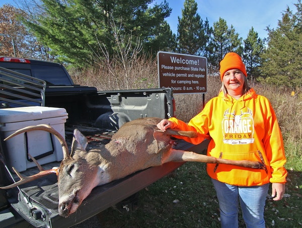 Vicki Britt of New Richland, Minn., took advantage of a special hunt inside William O'Brien State Park and harvested a 6-point buck Saturday morning