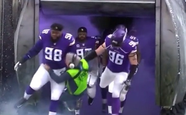 Ouch! Watch FOX Sports sound guy sent flying by Vikings' Linval Joseph