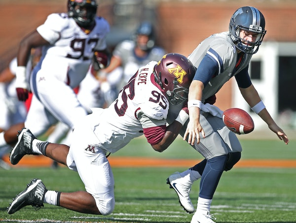 Defensive lineman Hendrick Ekpe set up another Gophers scoring chance when he chased down Illinois quarterback Jeff George Jr. and forced a fumble in