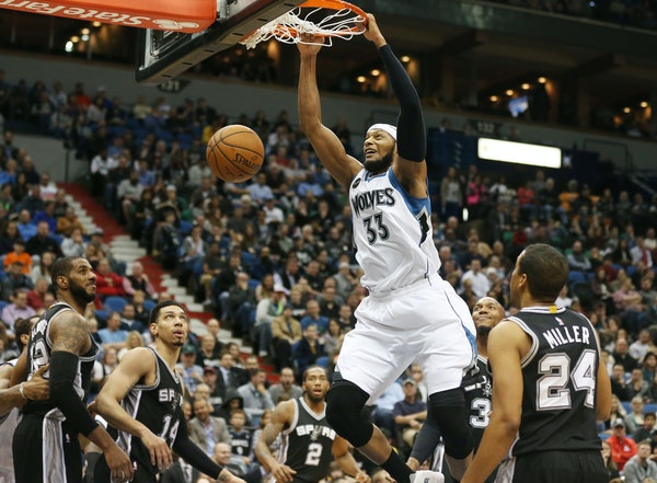 Timberwolves forward Adreian Payne is taking a bigger role off the bench with Shabazz Muhammad out with a sore knee.