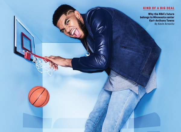 The cover shot from Karl-Anthony Towns' photo shoot for ESPN The Magazine. The issue will be available later this week.