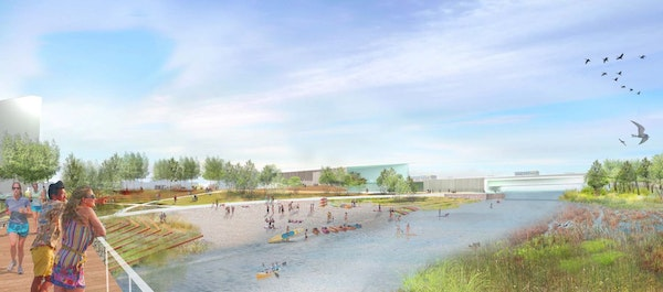 This rendering shows the channel between Hall's Island and the riverbank that is being developed into a park. The Minneapolis Park and Recreation Bo