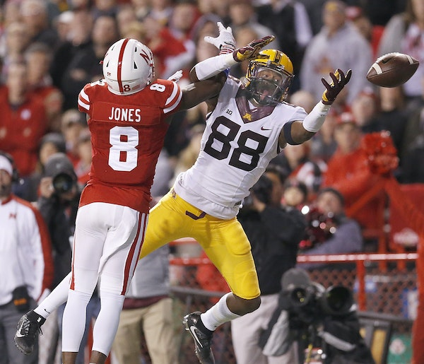 Gophers receiver Rashad Still couldn't haul in a Mitch Leidner pass with Nebraska's Chris Jones defending in the first half.