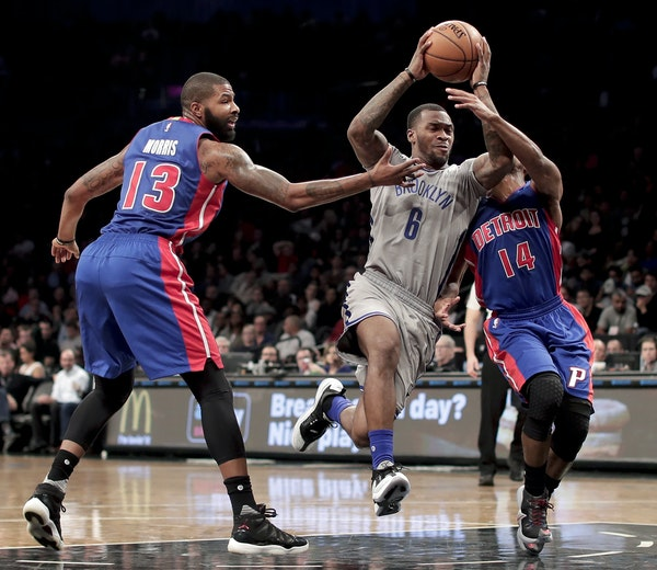 Brooklyn guard Sean Kilpatrick drove against Pistons forward Marcus Morris and guard Ish Smith earlier this season. The former Timberwolves reserve is