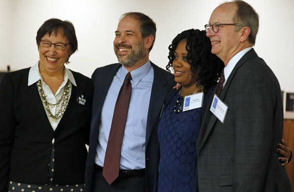 From left, Mary Vanderwert, Steve Marchese, Zuki Ellis, and Jon Schumacher are the candidates who ran for St. Paul school board under a Caucus for Cha