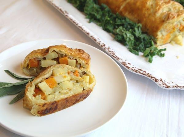 Roasted Vegetable and Sage Strudel for Meatless Meals.