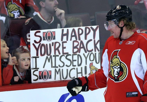 Fans welcomed players back — such as Ottawa captain Daniel Alfredsson above — in January 2013 when they returned after a 119-day walkout. Now the