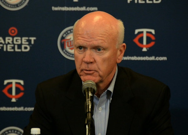 Terry Ryan, Twins general manager, talked about changes in coaching staff. Jim Pohlad, Twins owner, Terry Ryan, Twins general manager, and Dave St.Pet