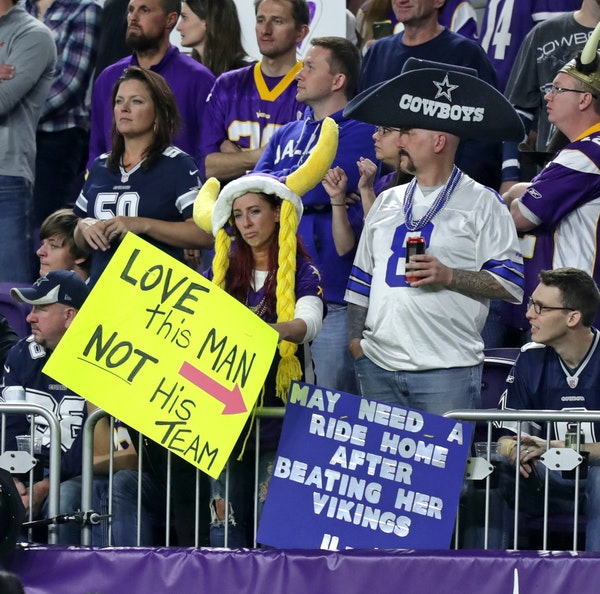 The Vikings stadium on Thursday seemed to be full of Dallas fans, including this guy who was looking for a ride home.
