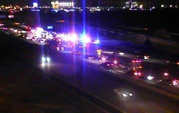 MnDOT cameras show the scene of a head-on crash Friday night on I-494 in Bloomington.
