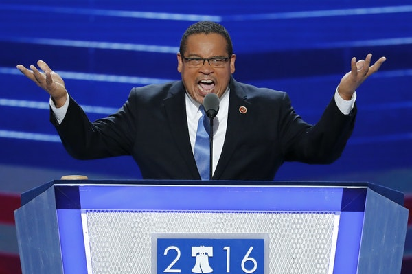 Rep. Keith Ellison, D-Minn., spoke during the first day of the 2016 Democratic National Convention in Philadelphia. Ellison, a prominent progressive a