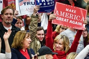 Trump supporters cheered after the national anthem at the University of Wisconsin-Eau Claire during a rally a week before the election. Trump's camp