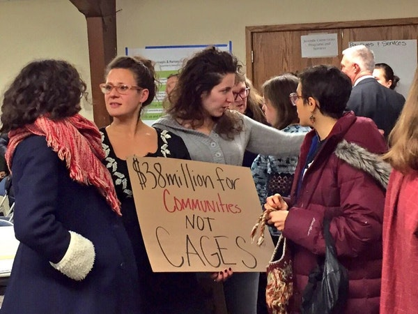 About 100 protesters came to Tuesday night's meeting in Richfield, the fourth of seven community input meetings on Hennepin and Ramsey counties' plans