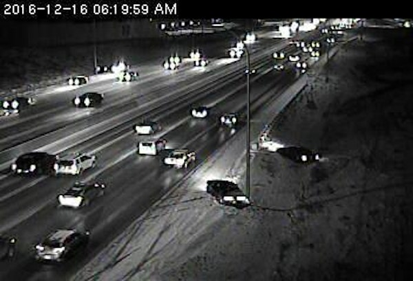 Drivers have slipped off I-35E at Roselawn Avenue in St. Paul.