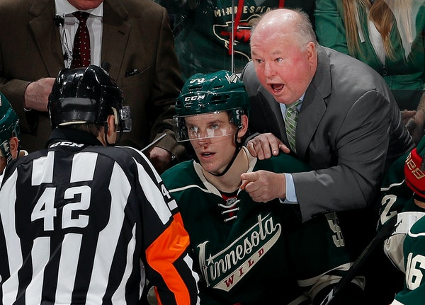 Wild coach Bruce Boudreau, discussing a non-goal call with a referee on Sunday, sees his team coming around on his coaching style.